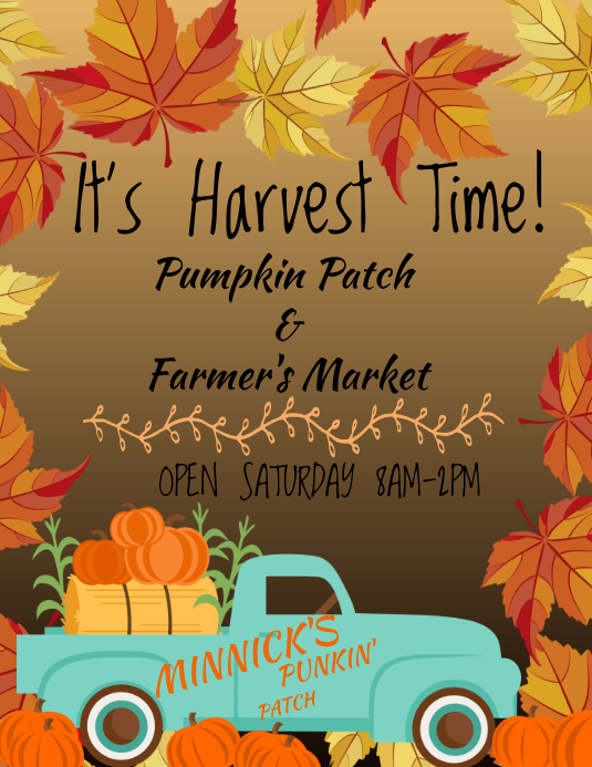 Pumpkin Patch Farmers Market Løbeseddel (US Letter) template