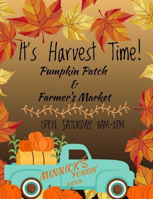 Pumpkin Patch Farmers Market ใบปลิว (US Letter) template