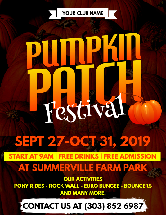 pumpkin patch festival flyer template