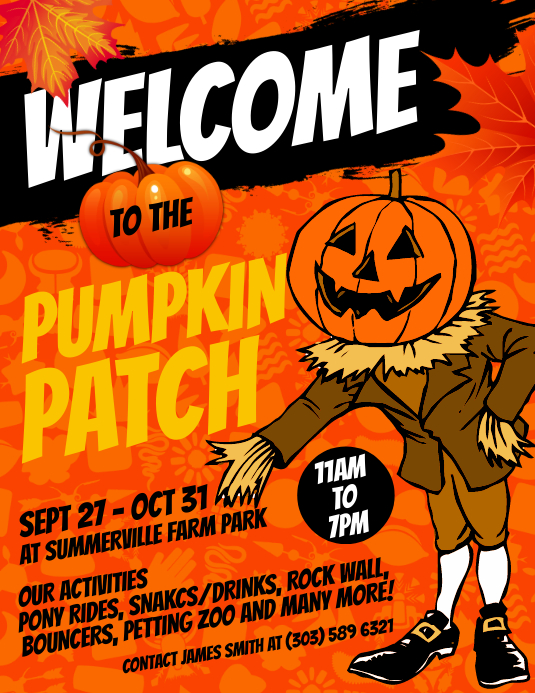 Pumpkin Patch Flyer Løbeseddel (US Letter) template