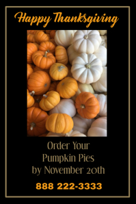 Pumpkin Pie Orders Poster Template