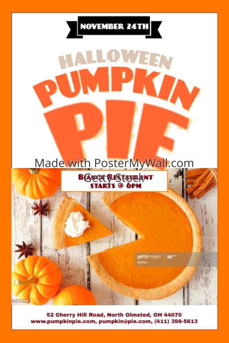 pumpkin pie template postermywall