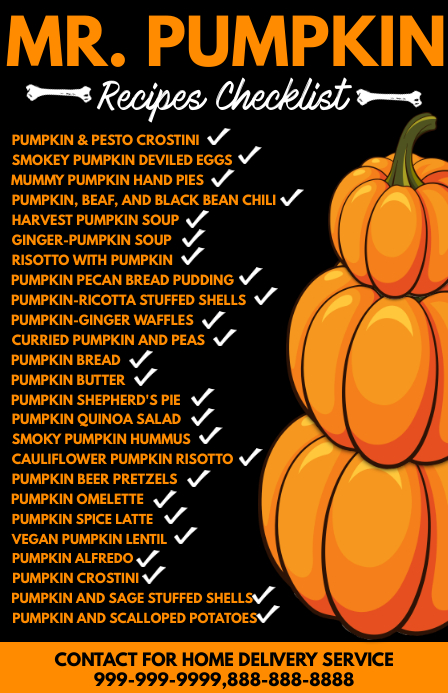 Pumpkin Recipe Checklist Template Tabloïd