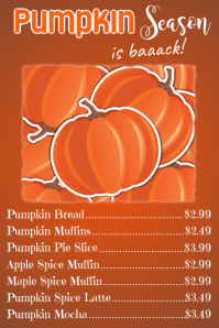 Pumpkin Season Menu Poster Template