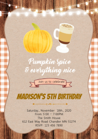 Pumpkin spice birthday invitation