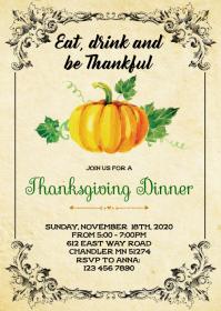 Pumpkin thanksgiving party invitation