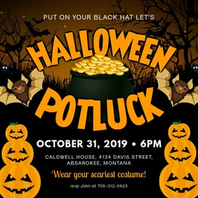 Pumpkins Halloween Potluck Video Square (1:1) template