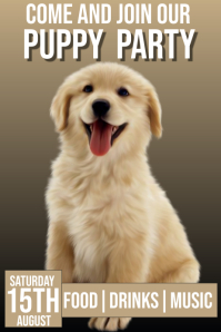 Puppy party Poster template