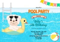 Puppy pool birthday party invitation A6 template