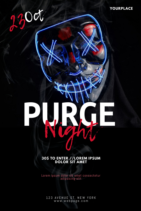 Purge night flyer design template Poster