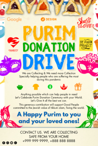 Purim Donation Drive 2021 Template Poster