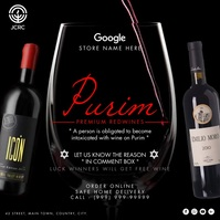 Purim Wine Service 2021 Template Instagram-opslag