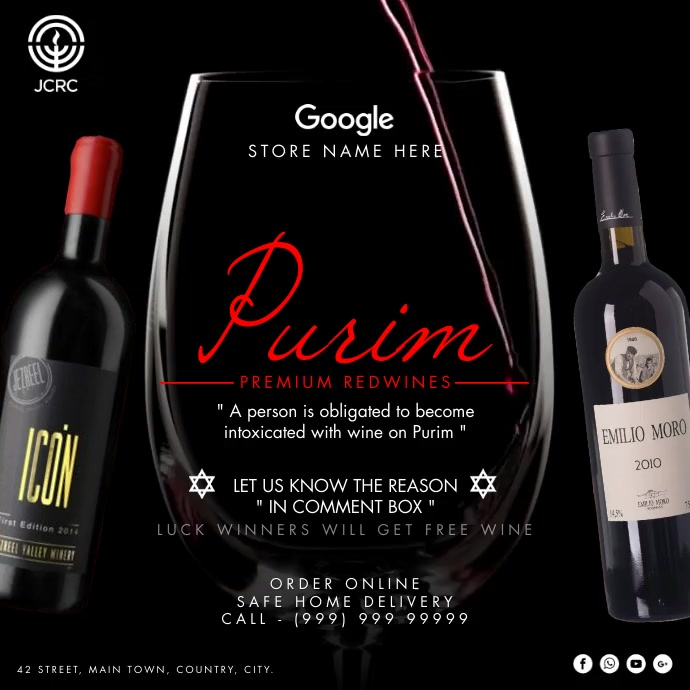 Purim Wine Service 2021 Template Publicación de Instagram