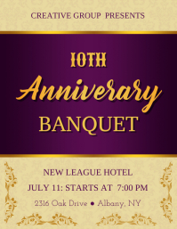 Purple & Golden Anniversary Banquet Flyer Template