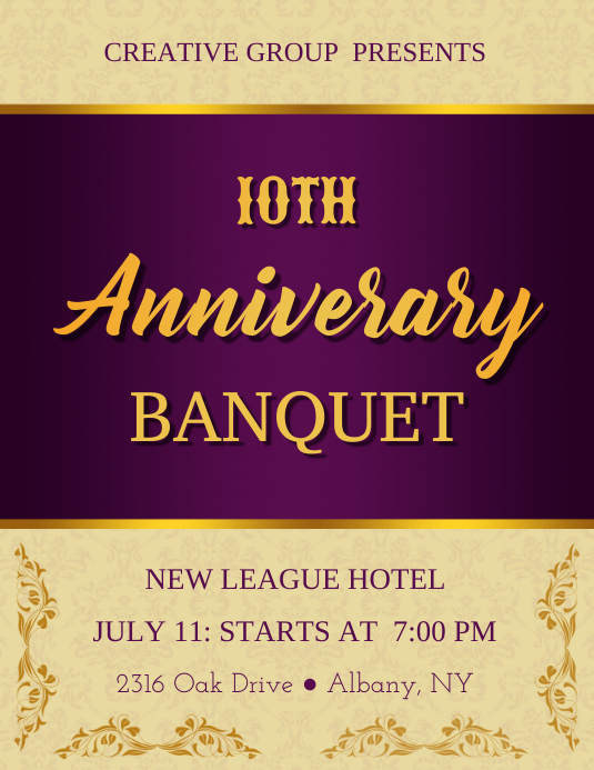 purple golden anniversary banquet flyer template postermywall