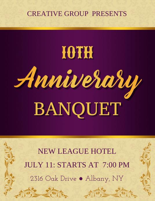 Purple & Golden Anniversary Banquet Flyer Template