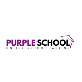 purple and black color logo school