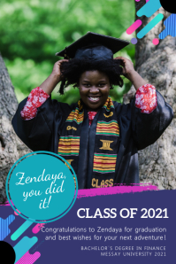 Purple and blue congrats grad banner template