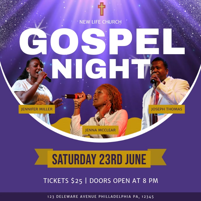 Purple and Gold Gospel Night Square Video