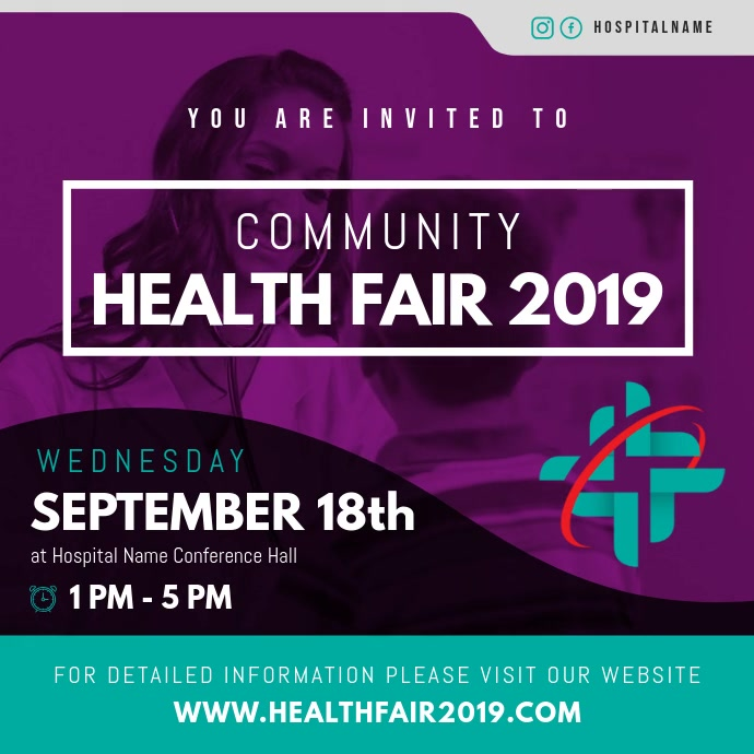 Purple and Green Health Fair Square Video Quadrato (1:1) template