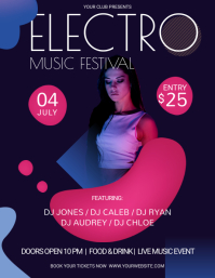 Purple and Pink Electro Music Festival Flyer