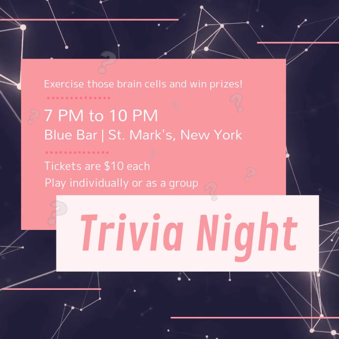 Purple and Pink Trivia Night Square Video