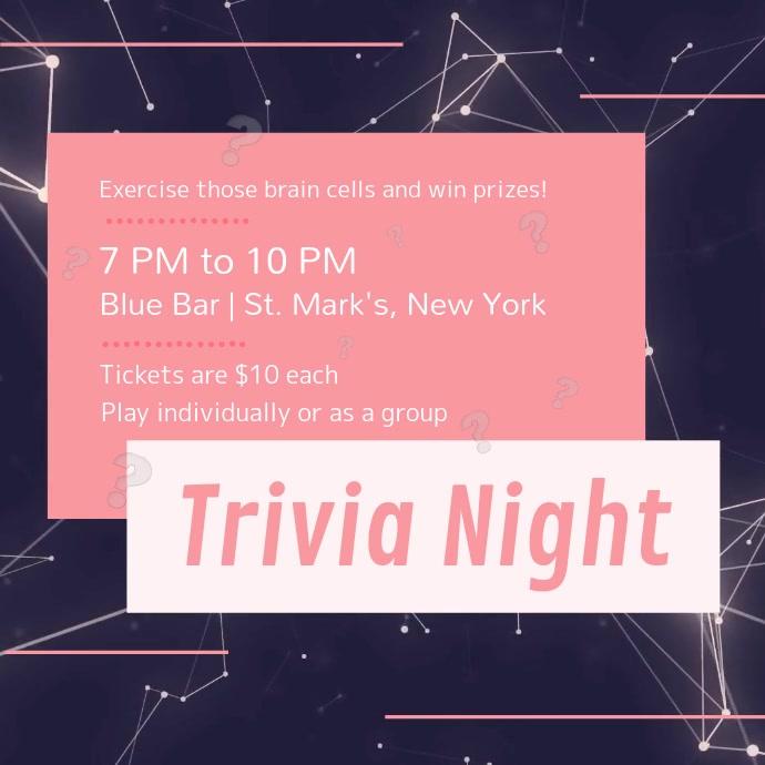 Purple and Pink Trivia Night Square Video Kwadrat (1:1) template