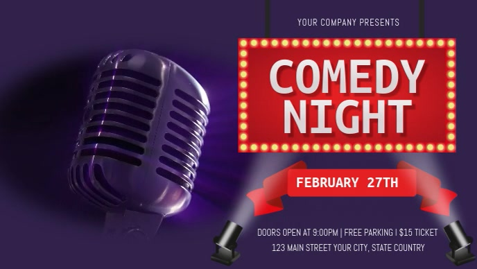 Purple and Red Comedy Night Facebook Cover Vi