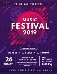 Purple and Red Music Festival Poster Design
