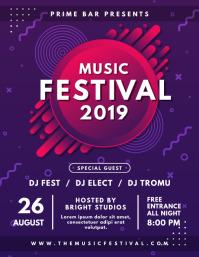 Purple and Red Music Festival Poster Design Folheto (US Letter) template