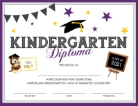 Purple and white Kindergarten diploma certifi Flyer (format US Letter) template