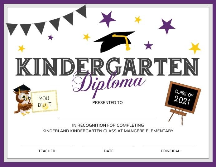 Purple and white Kindergarten diploma certifi Рекламная листовка (US Letter) template