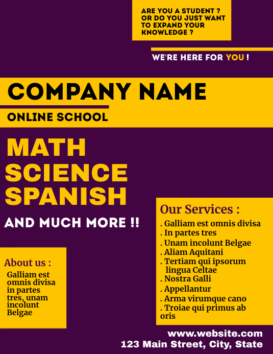 Purple and yellow online school flyer Ulotka (US Letter) template