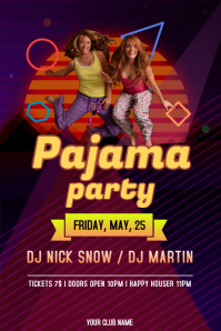 Purple and Yellow Pajama Party Poster