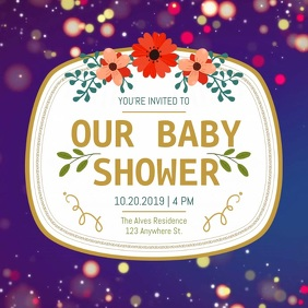 Purple Baby Shower Floral Square Video template