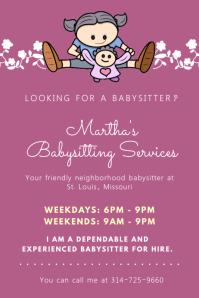 purple babysitter flyer with illustrations