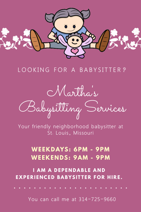 Purple Babysitter Flyer with Illustrations Poster template