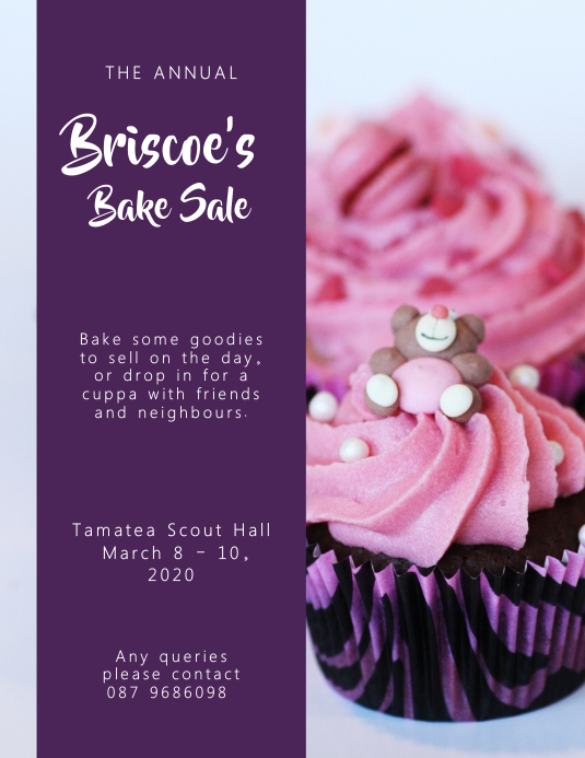 Purple Bake Sale Flyer Template