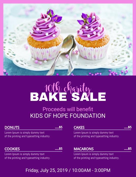 Purple Bake Sale Price List Template   PosterMyWall
