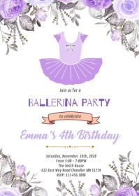 Purple Ballerina birthday party invitation A6 template