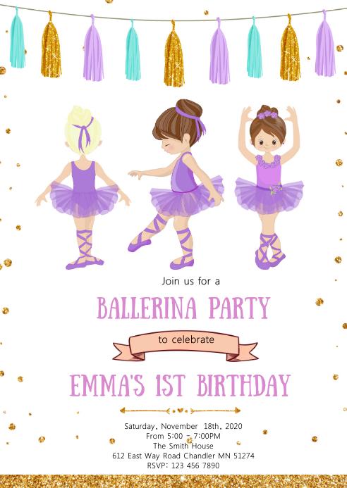 Purple Ballerina birthday party invitation