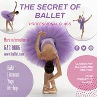 Purple Ballet Dance Classes Instagram Post Te template