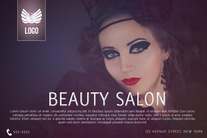 purple beauty salon flyer template landscape