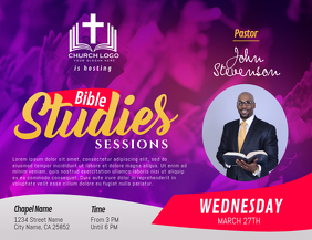 Purple Bible Study Sessions Landscape Flyer