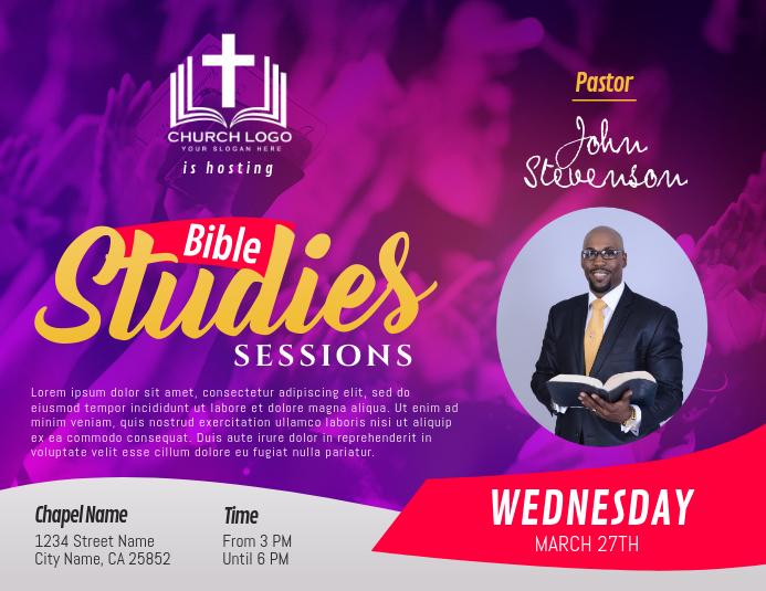 Purple Bible Study Sessions Landscape Flyer