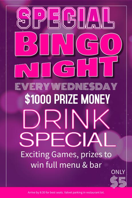 Purple Bingo Night Poster Template
