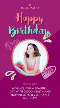 Purple Birthday Celebration Wish Instagram St template