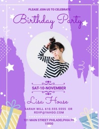 Purple Birthday Party Bash Invitation Slidesh Pamflet (VSA Brief) template