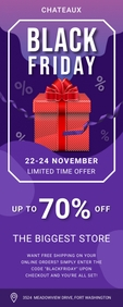 Purple Black Friday Sale Banner Cartel enrollable de 2 × 5 pulg. template