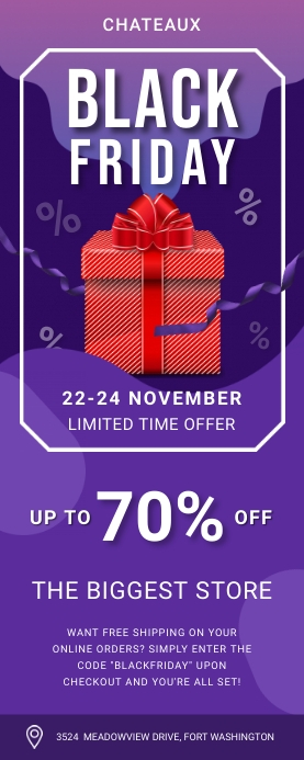 Purple Black Friday Sale Banner Rullebanner 2' × 5' template
